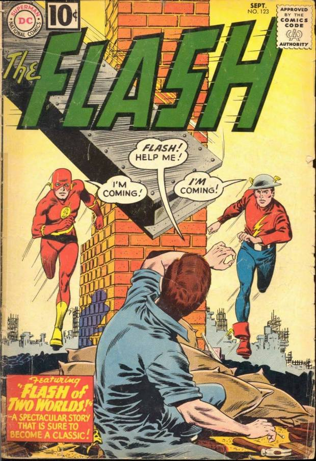 "Inside was the story ""Flash of Two Worlds,"" a landmark in which Silver Age Flash (a product of Infantino's artistic intervention) and Golden Age Flash meet for the first time. It also introduced the concepts of Earth Two and the Multiverse to DC Comics!  Wow!"